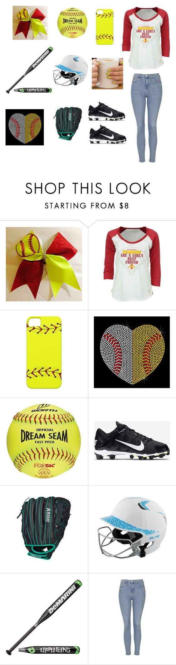 """""""Softball"""" by ashling22 on Polyvore featuring Retro Brand, Rawlings, NIKE, Wilson, EASTON and Topshop"""