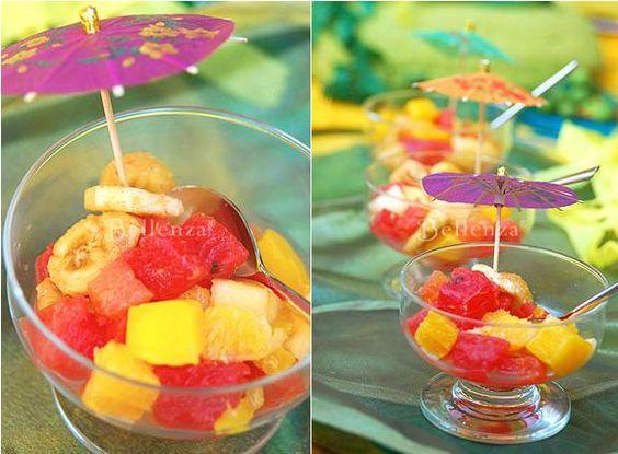Fresh fruit cups as a refreshing summer wedding appetizer or dessert