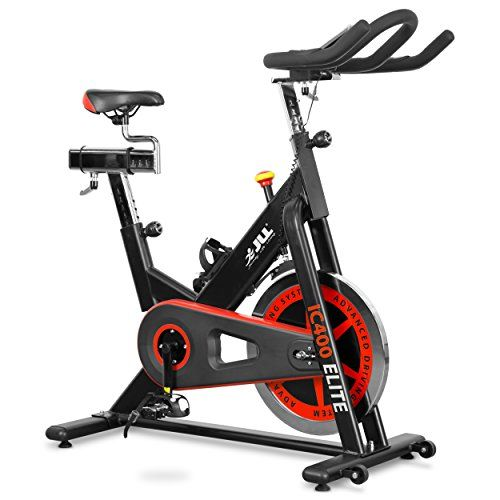 JLL IC400 ELITE Premium Indoor Cycling Exercise Bike, Direct Belt Driven 20kg Flywheel with Adjustable Friction Resistance, 3-Piece Crank, Large 6-Function Monitor, Emergency Stop System, Ergonomic Handlebars with Heart Rate Sensors, Fully Adjustable Seat