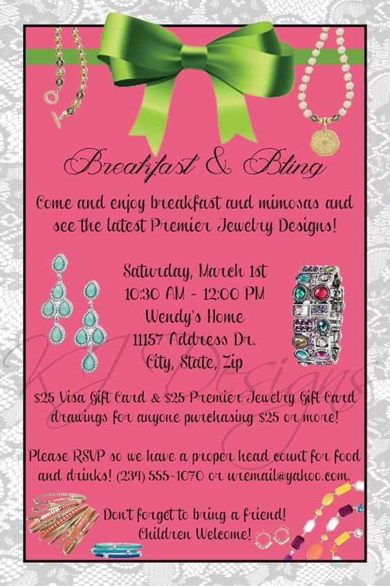 Jewelry party invitation digital jewelry by kjdesignsshop for Premier designs invitations