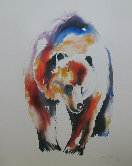 Beautiful watercolour bear painting by Faith Harckham