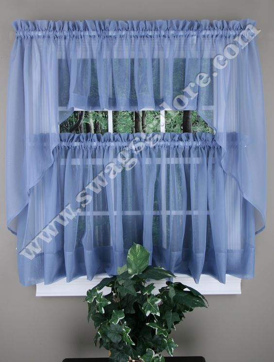 Elegance sheer voile Swag Pair, Tier Curtain Panel & Insert ...