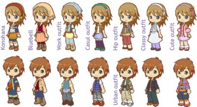 Male and Female Outfits from Harvest Moon: Tale of Two Towns
