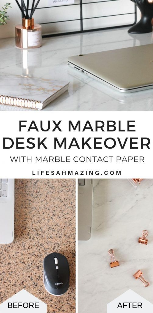 Faux Marble Desk Makeover With Marble Contact Paper Marble Desk