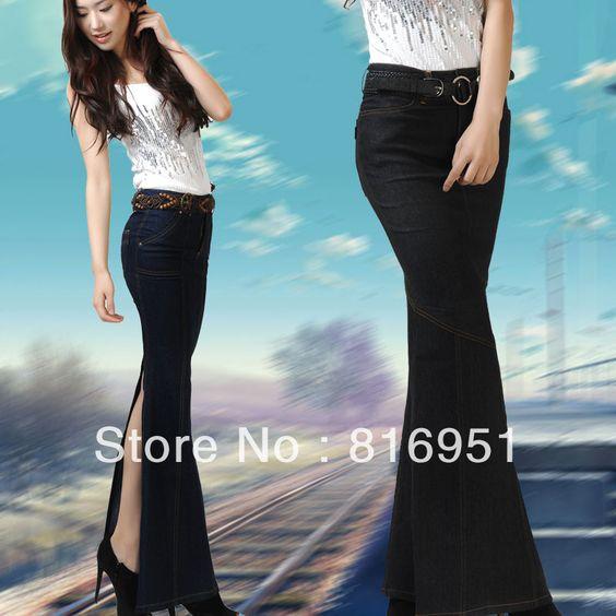 mermaid jeans skirt women's long denim skirt celebrating skirt ...