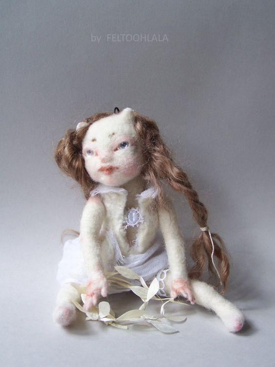 OOAK small pixie art doll Blanche ♡ by feltoohlala on Etsy