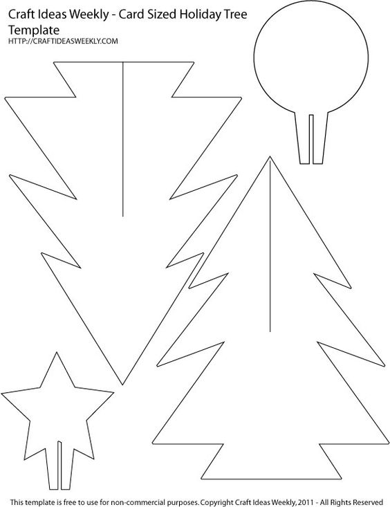 A free printable template to make your own 3D paper Christmas trees using your favorite decorative cardstock (about 7 inches tall)  via http://craftweekly.com/card-sized-paper-christmas-tree-template/: