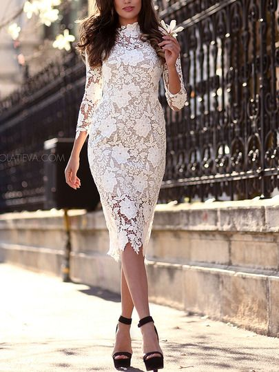 White Floral Crochet Slim Lace Dress -SheIn(Sheinside) Mobile Site