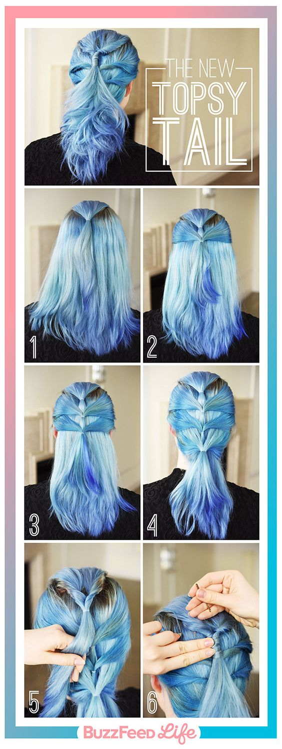 Her hair color is amazing!! The New Topsy Tail | 26 Incredible Hairstyles You Can Learn In 10 Steps Or Less: