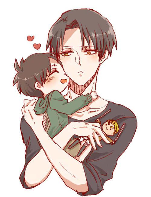 Anime Characters Child Reader : Aw levi and eren are so cute here but s jus