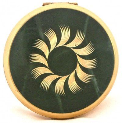 Vanroe green enamel vintage compact