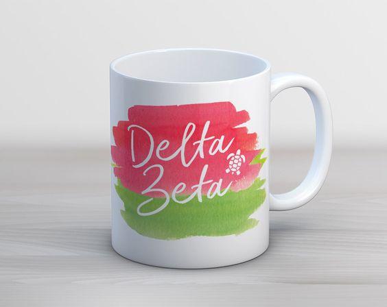 DZ Delta Zeta Watercolor Script // Sorority Coffee Mug by UptownGreek on Etsy https://www.etsy.com/listing/469114653/dz-delta-zeta-watercolor-script-sorority