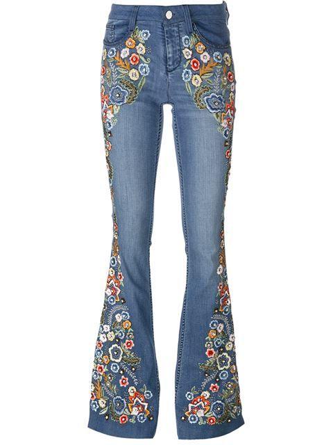 Compre Alice+Olivia Calça jeans flare com bordado em Luciana from the world's best independent boutiques at farfetch.com. Compre em 400 boutiques em um único endereço.: