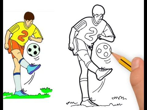 How To Draw Football Soccer Sports Player For Kids Easy Draw Jolly To In 2020 Football Drawing Football Kids Drawings
