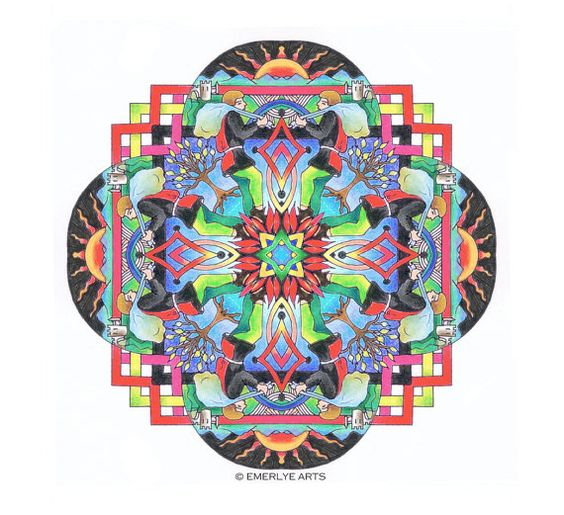 Mandalas: A portfolio of complex coloring pages for adults by Vermont artist, Cynthia Emerlye.  This is Set 4 in my Mandala series of coloring  Her books may seem a little pricey but her work is worth every penny. I love the book I bought from her.