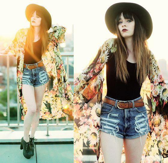 Miss Kl Floral Kimono, Denim Shorts, Jeffrey Campbell Clayton Platform, Leather Hat, Vintage Belt
