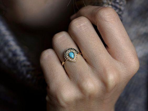 Turquoise Engagement ring Bohemian Engagement Ring by MinimalVS
