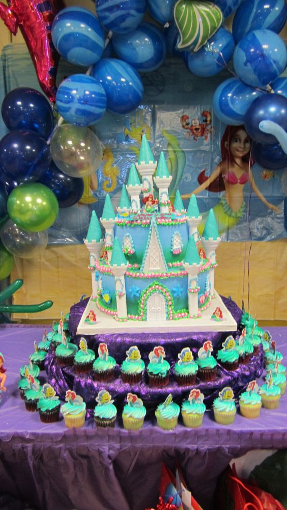 Little mermaid birthday cake party decorations for Ariel birthday party decoration ideas
