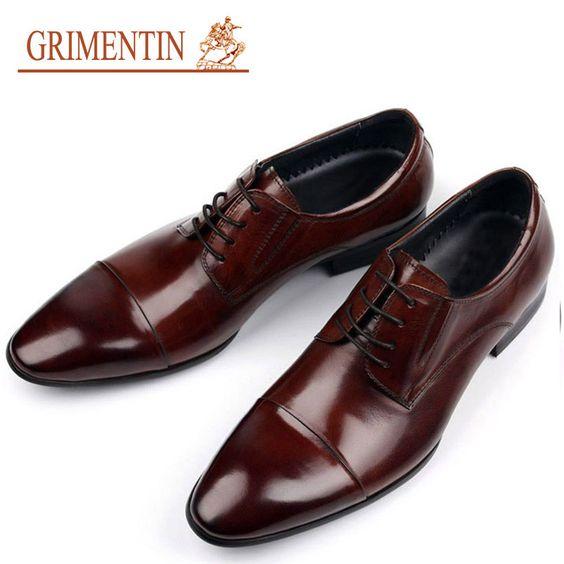 GRIMENTIN fashion luxury mens dress shoes genuine leather italian ...
