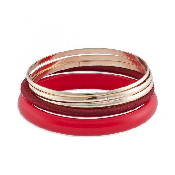Set de 5 bracelets rigides rouges et dorés