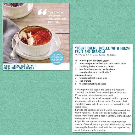 Bobby Flay's Yogurt Creme Brulee with Fresh Fruit and Granola recipe! (From Food Network Magazine).