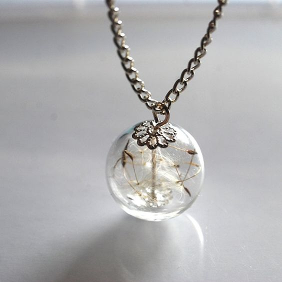 Dandelion Necklace Jewelry Real Seeds Wish by NaturalPrettyThings, $27.00