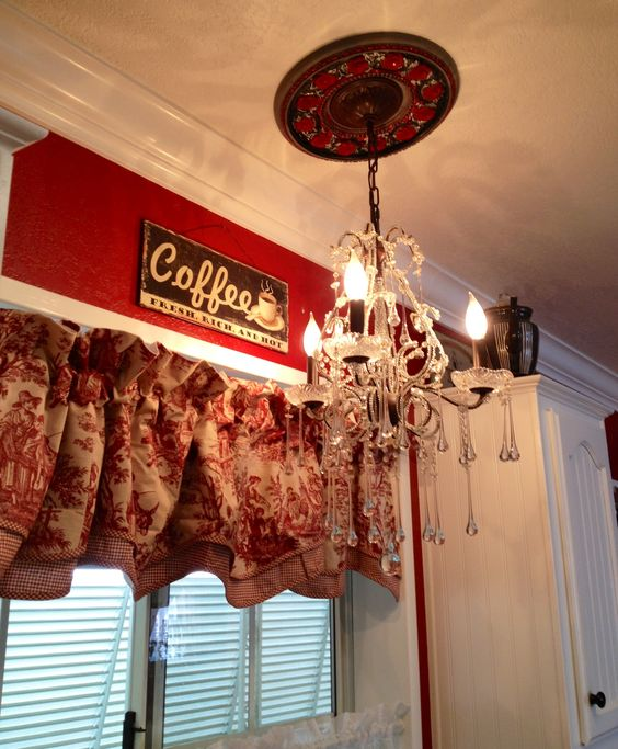 Painted Chandelier Pendant For Black White And Red Kitchen