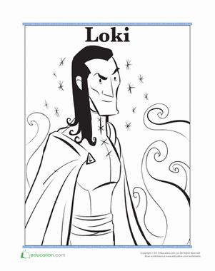 Norse gods loki coloring colors and pictures of for Norse mythology coloring pages