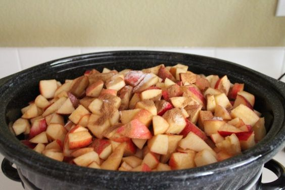 Crock Pot Apple Sauce: I usually make this on the stove, so it's nice to know that the crock pot works well, too. I peeled my apples (what a pain!), roughly chopped them, and tossed them in on low with some cinnamon. You can also freeze this (or can if you know how), and it tastes really good still.- KAB