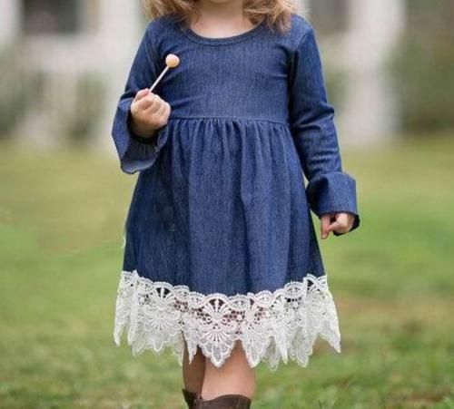 e4be77fbd Denim Girl Dress with Lace Detail
