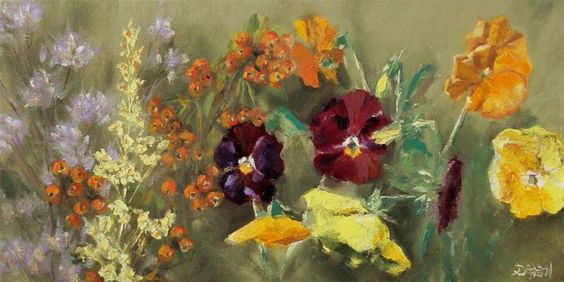 DPW Fine Art Friendly Auctions - Pansies, Berries, and Wildflow... by Dalan Wells