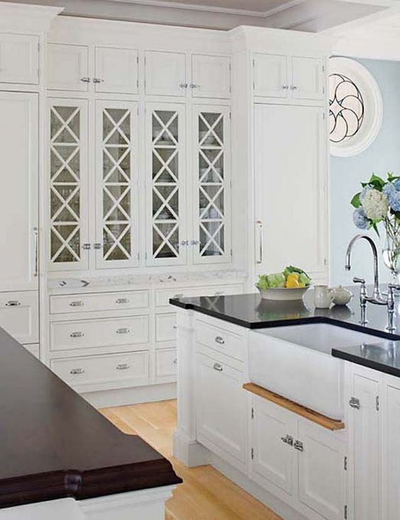 Islands the cabinet white kitchens the glass glass cabinet doors black