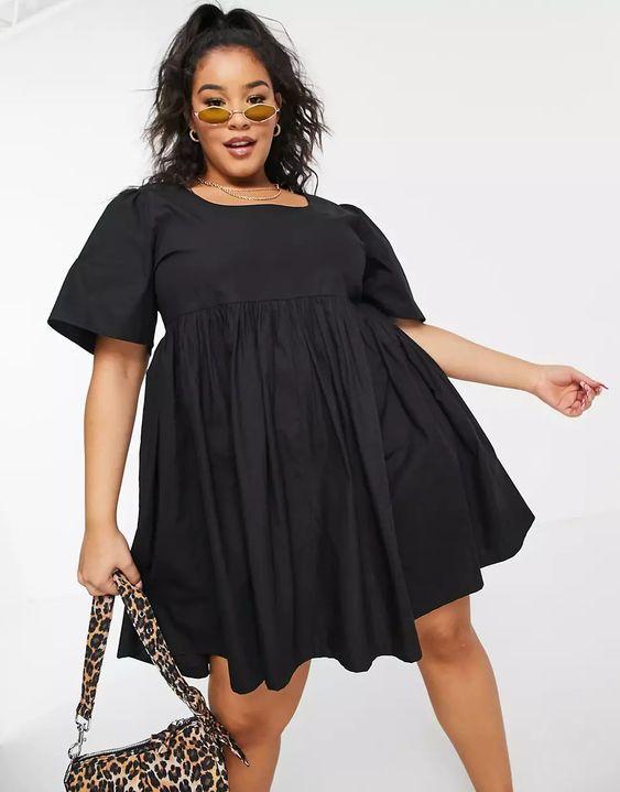 COLLUSION Plus exclusive round neck mini smock dress in black asos