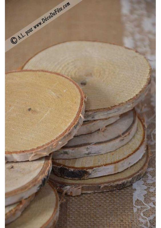 10 tranches de bois de bouleau