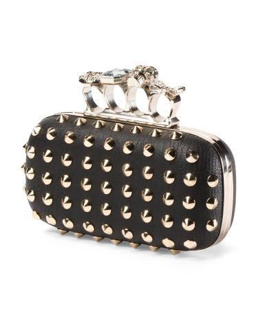 Faux Leather Studded Clutch