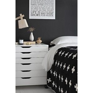 bedrooms - Ikea Alex Drawer Unit on Casters - White black paint white washed plank floor wood lamp Black & white bedroom with black paint color,