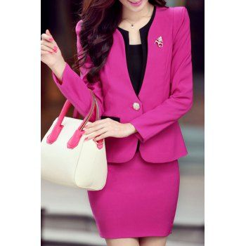 Scoop Collar Long Sleeve Slimming One Button Blazer   Solid Color Skirt Suit