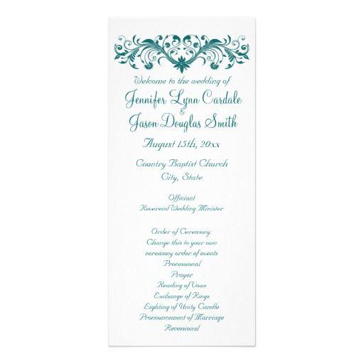 Elegant Flourish White and Teal Turquoise Aqua Blue Vertical Wedding Programs