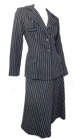 Chic Black and White Pinstriped Suit circa 1970s - Dorothea's Closet Vintage