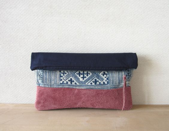 Fold Over Clutch Bag - Vintage Batik Fabric and Dusky Rose Suede. $30.00, via Etsy.