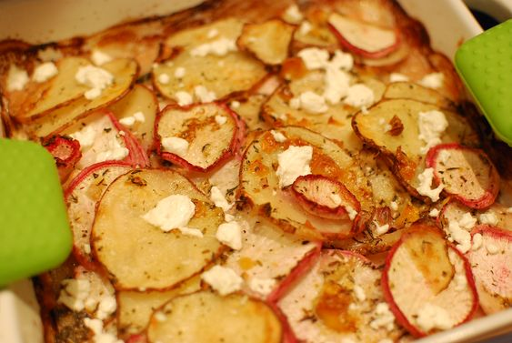 scalloped turnips + potatoes with goat cheese