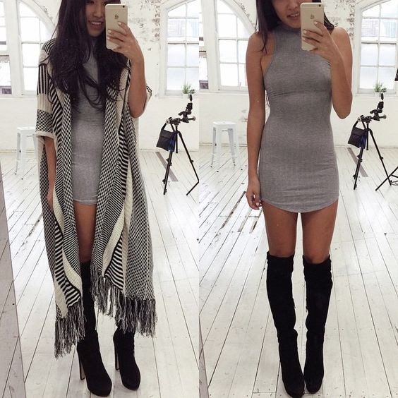 dailychic | kimono   dress   over the knee boots | www ...