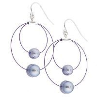 694938 - Honora 6-9mm Cfw Ring Pearl Multi Layer Hoop Earrings Sterling Silver