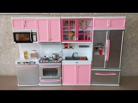 Unboxing New Barbie Kitchen Set Deluxe Modern Toy Kitchen Battery Operated Doll Kitchen Playset Youtube Toy Kitchen Set Barbie Kitchen Set Barbie Kitchen