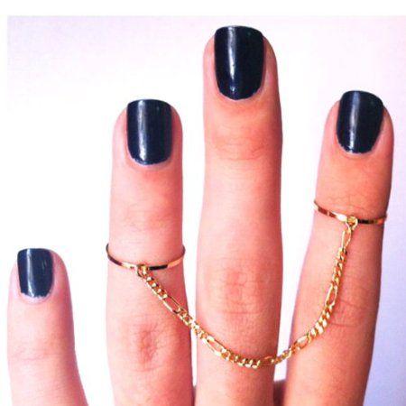 Amazon.com: HuaYang Unique Unisex Lady Men Punk Alloy Gold 2 Double Chain Link Finger Ring: Beauty