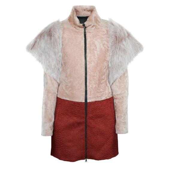 DROMe ITALY $2,690 astrakan lamb shearling fur AW13 colorblock runway coat S NEW #DROMe #astrakan #furcoat #aw13