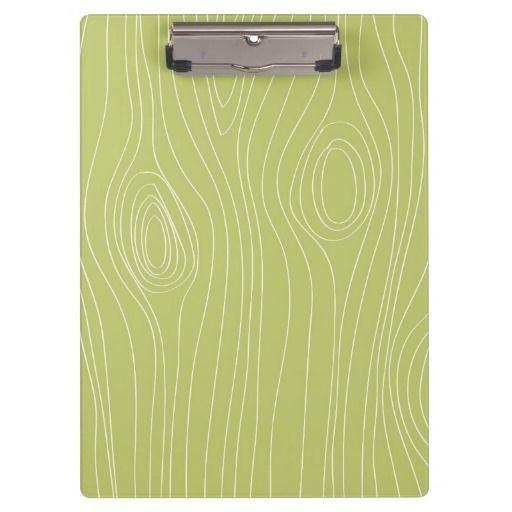 Cute Retro Green Wood Grain pattern Clipboard