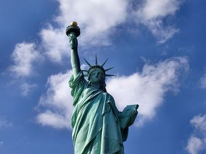 """June 17, 1885: the Statue of Liberty arrives in New York Harbor. French sculptor Frederic Batholdi was inspired by something a friend had said, """"If a monument should rise in the United States, as a memorial to their independence, I should think it only natural if it were built by united effort -- a common work of both our nations."""" Photograph by Derek Jensen."""