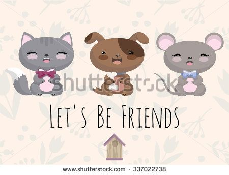 Cute vector illustration with baby animals on cream background. Little dog, kitten and mouse. Let's be friends. - stock vector
