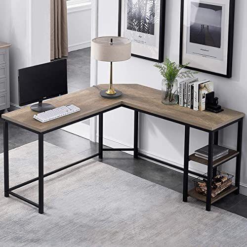 New Furnichoi L Shaped Computer Desk Industrial Wood Metal Sturdy Corner Desk Shelves Home Office 59 Inch Online Theeasytopbuy In 2020 Home Office Furniture Metal Desks Corner Desk